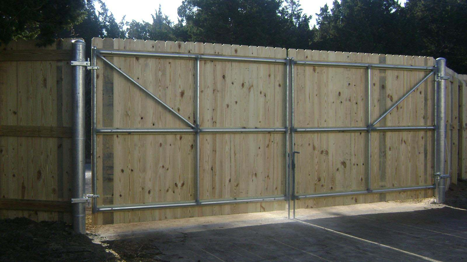 Wood fencing add a link fence company nj fence contractor wood gate on steel frame and posts baanklon Images