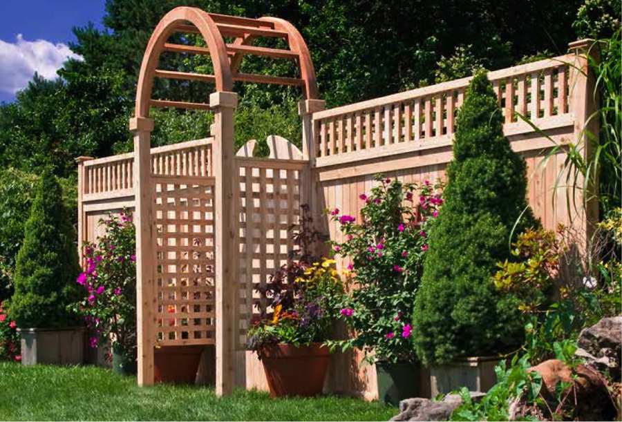 Wood fencing add a link fence company nj fence contractor for Fence with arbor