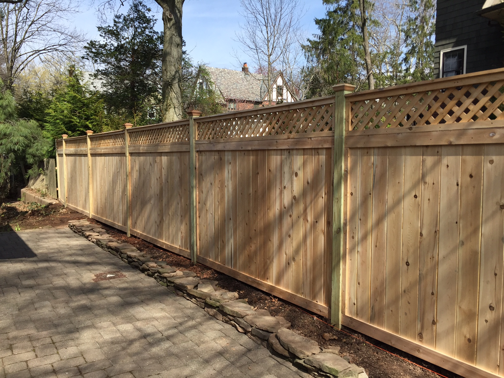 Wood fencing add a link fence company nj fence contractor cedar lattice top fence baanklon Choice Image
