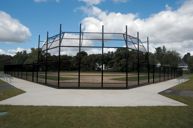 Black Chain Link Baseball Back Stop Fence System