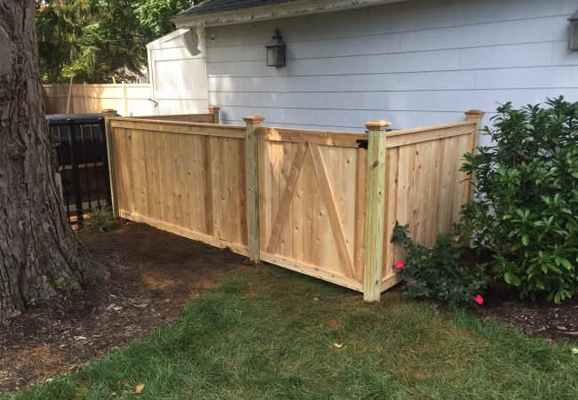 Cedar Tongue and Groove Pool Filter Enclosure Fence