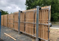 Custom Metal Framed Cedar Board on Board Cantilever Gate