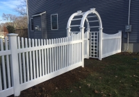PVC Picket Fence with Arbor
