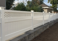 Vinyl Fence Installed in Block Wall