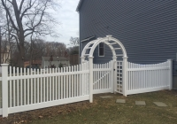White Vinyl Picket with Arbor