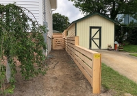 California Style Cedar Fence 3 to 4 foot drop inside