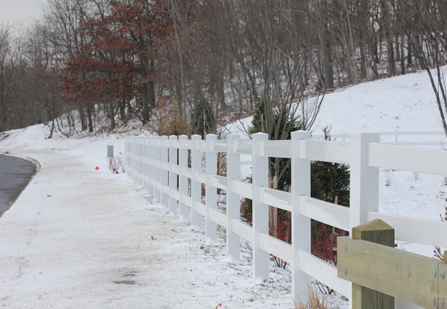 White PVC Split Rail Fence