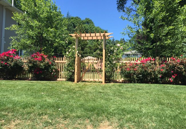 Cedar Pergola and Classic Picket Fence