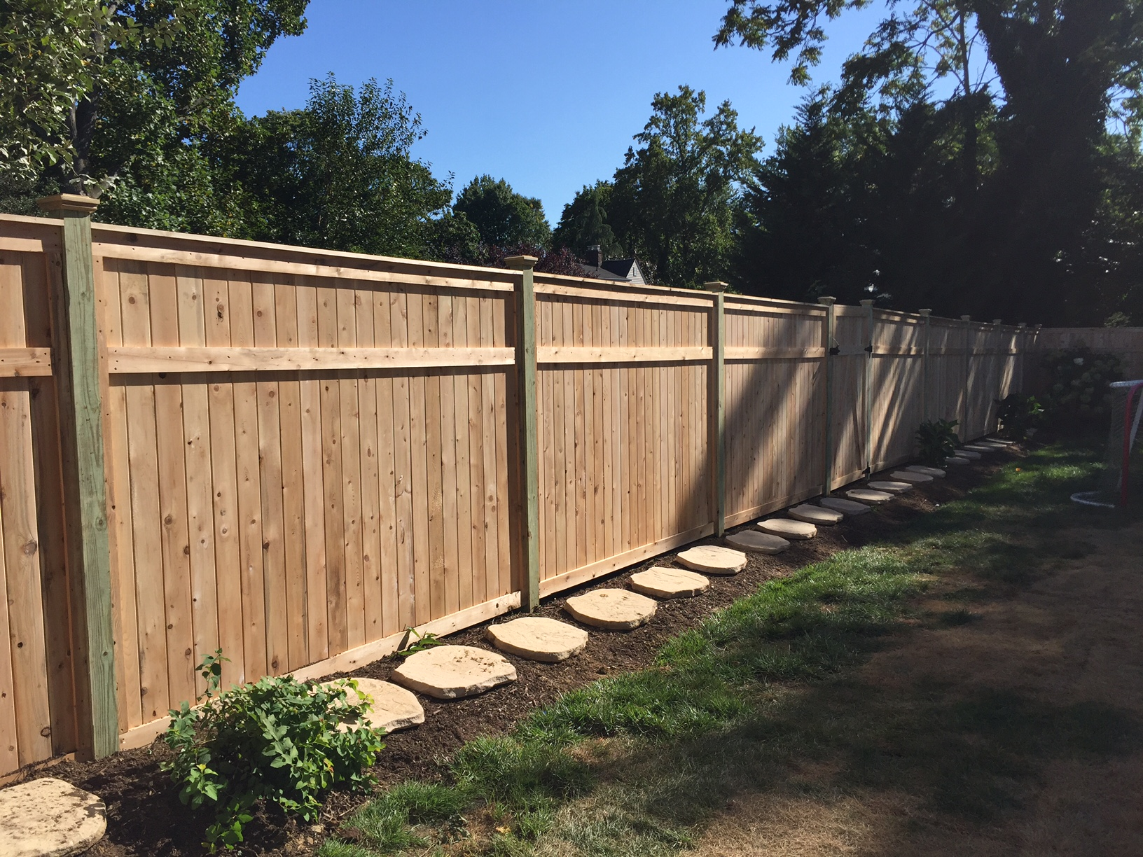Cedar tongue and groove fence