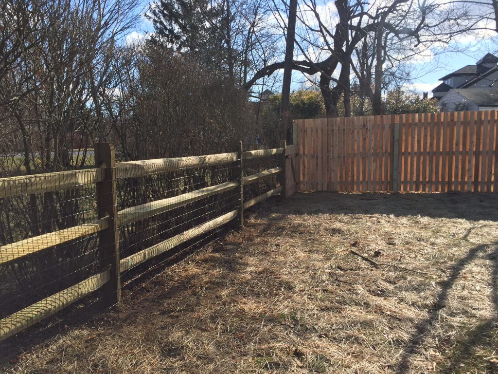 Split Rail Fence with Cedar Board on Board Fence