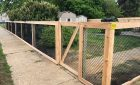 Cedar framed chain link fence
