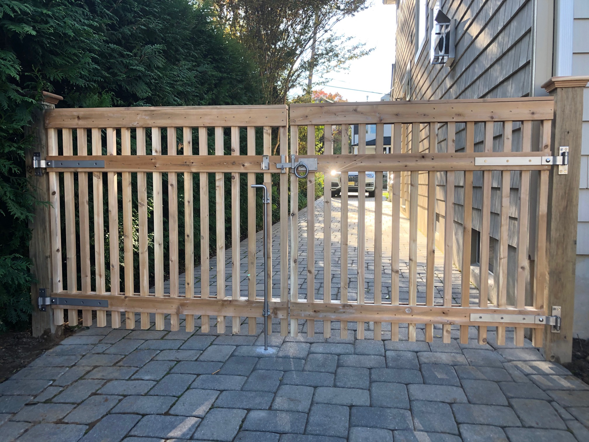 Cedar Covered Top Spindle Double Drive Gates